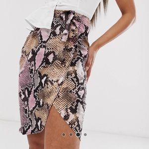 Missguided Snake Print Wrap Tie Skirt